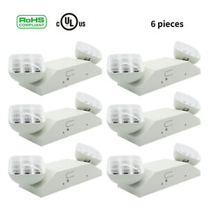 6pcs Led Emergency Exit Light Lamp Lighting Fixture Twin Square Heads Universal