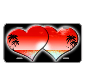 Custom Personalized License Plate Car Tag With Red Hearts And View Add Names