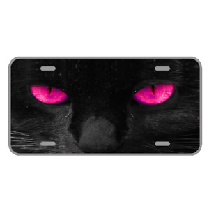 Custom Personalized License Plate Car Auto Tag Design With Cat Pink Eyes