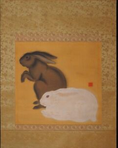 Japanese Painting Hanging Scroll Japan Rabbit Antique Vintage Picture Aged D436