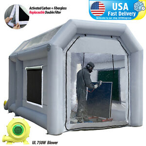 Inflatable Portable Spray Paint Booth Custom Tent In Usa With 2 Blowers 13x8x8ft
