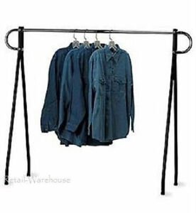 Clothing Rack Black Chrome Single Rail Steel Garment Salesman 60 X 60
