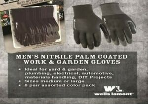 Wells Lamont Nitrile Coated Work Gloves 12 Pairs Medium New Boxed
