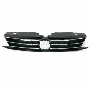 15 18 Vw Jetta Front Face Bar Grill Grille Assembly Black W o Collision Warning
