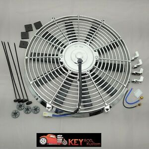 Chrome 14 Electric Cooling Fan Reversable Puller Pusher 12v 1900 Cfm Radiator