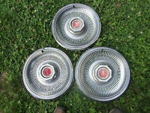Vintage Set Of 3 1978 79 Pontiac 14 Hubcaps Lemans Phoenix Good Condition