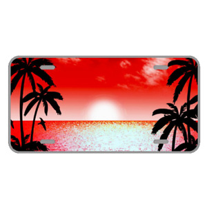 Custom Personalized License Plate With Red Beautiful Palm Trees Sunset View