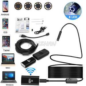 8mm 8 Led Wireless Endoscope Wifi Borescope Inspection Camera For Cell Phones