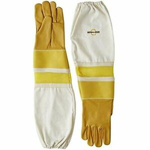 Cowhide Beekeeping Gloves Ventilated Sleeves Sting Proof Cuffs Extra Long