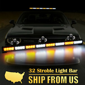35 32 Led Amber White Traffic Advisor Emergency Hazard Warning Strobe Light Bar