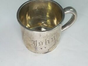 Vintage Sterling Silver A8132 Baby Cup John Anchor Punch Handle Dented 1 8 Oz