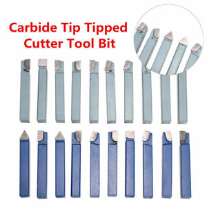 20 Pc 1 2 C2 C6 Carbide tipped Tool Bit Set Single Point Brazed Lathe Kit