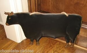 Black Cow Wall Sculpture Primitive Home French Country Kitchen Farmhouse Decor