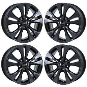 17 Kia Soul Pvd Black Chrome Wheels Rims Factory Oem Set 74693