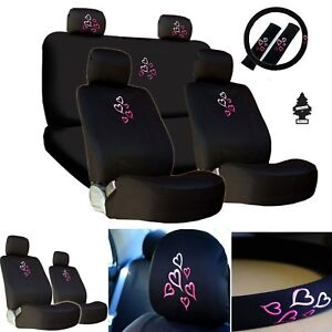 For Hyundainew Multi Pink Heart Car Auto Truck Seat Steering Covers Gift Set