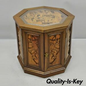 Vintage Oriental Asian Figural Carved Wood Accent Storage Cabinet Drum Table