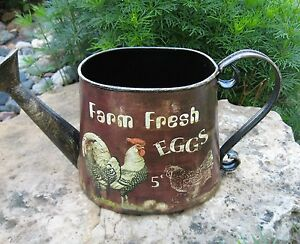Rooster Chicken Farm Eggs Watering Can Primitive French Country Farmhouse Decor