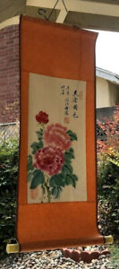 Vintage Chinese Watercolor Flowers Wall Hanging Scroll Painting