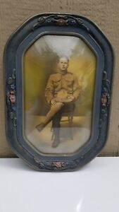 Wwi Era Military Soldier Photo In Bubble Glass Wood Frame Army 22 X 15