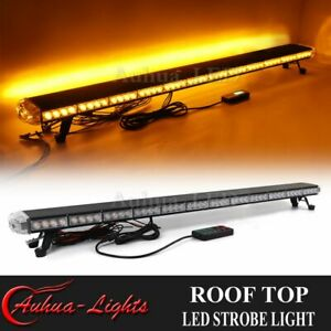 55 Amber Led Emergency Response Warning Tow Plow Truck Wrecker Strobe Light Bar