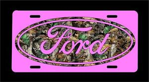 Camo Ford Oval Pink Background Novelty License Plate Free Shipping