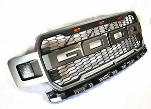 For 18 20 Ford F150 Raptor Style Painted Gray Front Bumper Mess Grille W led