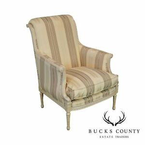 French Louis Xvi Style Custom Painted Upholstered Bergere Chair
