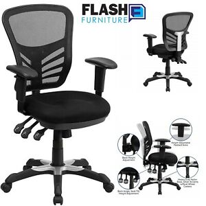 Flash Furniture Mesh Office Chair Mid Back Seat W Triple Paddle Control W Arms