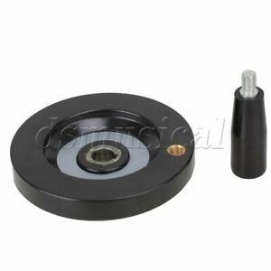 Black Round Hand Wheel Corrugation Revolving Handle 10cm Dia For Milling Machine