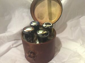 Antique Traveling Perfume Bottle Set W Leather Case
