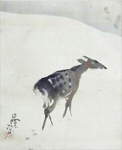 Japanese Painting Hanging Scroll Japan Deer Snow Vintage Antique Picture D422