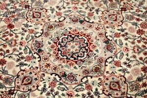 Vintage Hand Knotted Chinese Asian Wool Area Rug Round 6 X 6