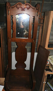 Antique Solid Oak Hall Tree Tall Bench Seat Rustic
