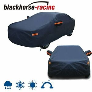 Full Car Cover Dark Blue Waterproof Rain Snow Heat Dust Resistant Protection