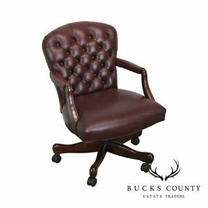 Oxblood Red Leather Tufted Chesterfield Style Executive Office Desk Chair H