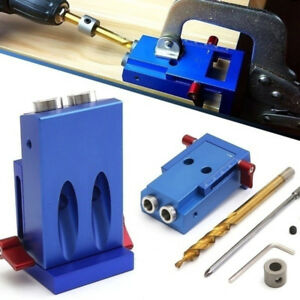 Jq_ Hk Durable Pocket Slant Hole Jig Kit With Step Drilling Bit Woodworking T