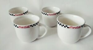 Coca Cola Mugs (Set Of 4) Checkered  Gibson  2002