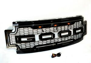 For 17 19 Ford F250 F350 Raptor Style Conversion Front Bumper Black Grille W led