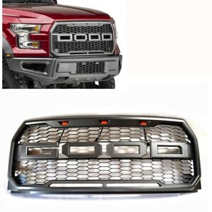 For 15 17 Ford F150 Raptor Style Conversion Front Bumper Grey Mess Grille W Led