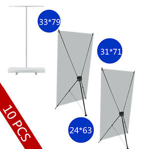 10 Pack Banner Stand Trade Show Sign Display Foldable Advertise X Stand Great