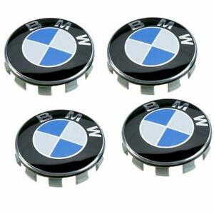 Set Of 4 For Bmw Wheel Center Caps Emblem 68mm Rim Center Hub Caps Blue
