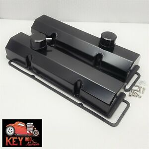Small Block Chevy Fabricated Welded Black Aluminum Valve Covers Breathers 350