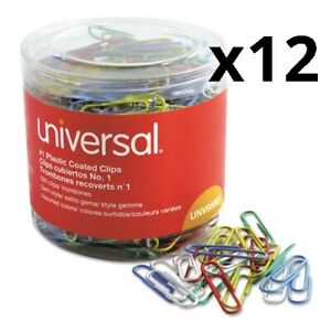 Plastic coated Paper Clips Small no 1 Assorted Colors 500 pack Pack Of 12