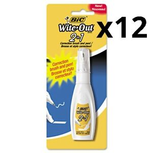 Wite out 2 in 1 Correction Fluid 15 Ml Bottle White Pack Of 12