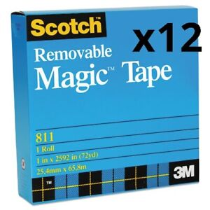 Removable Tape 1 Core 0 75 X 36 Yds Transparent Pack Of 12