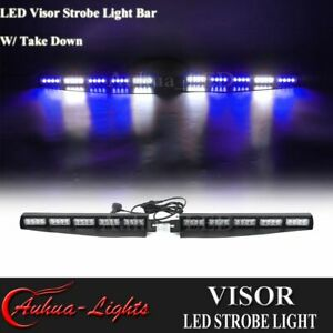34 40w Blue White Led Visor W Take Down Dash Split Windshield Strobe Light Bar