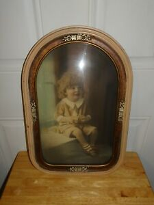 Antique Curved Glass Fine Arts Association Child By Window Photo Picture Frame