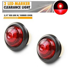 2x 3 4 Red Small Round Side Marker Lights 2led Button Lamps Truck Lorry Rv 12v