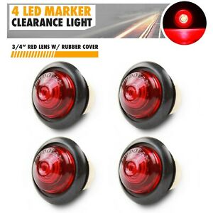 4x 3 4 Red Small Round Side Marker Lights 3led Button Lamps Truck Lorry Rv 12v