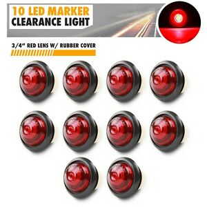 10x 3 4 Red Small Round Side Marker Lights 2led Button Lamps Truck Lorry Rv 12v
